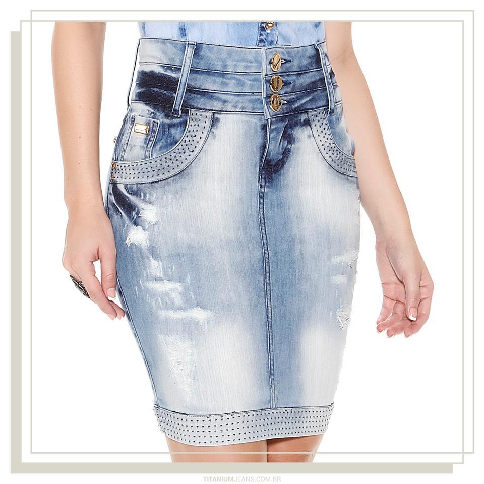 8ca7501add 176644 - Saia jeans Azul Tradicional Três Cos Titanium